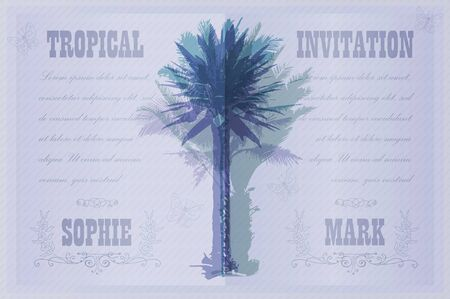 engagement silhouette: Tropical Invitation template for wedding, engagement and other events. Colorful background with silhouette of palm trees on the beach. Tropical seasonal background for vacation and summer.