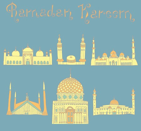 places of worship: set of Colorful drawings of mosques with text. Hand drawn images of islamic worship places for holiday design. Doodles of different mosques with holiday lettering. Illustration