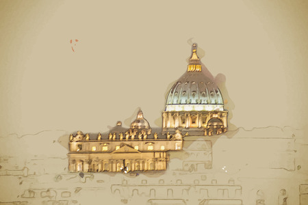 peter: Night view at St. Peters cathedral in Rome, Italy. Travel background illustration. Painting with watercolor and pencil. Brushed artwork. Vector format.