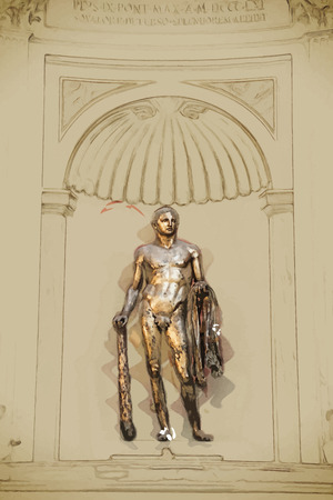 hercules: Hercules of the Theatre of Pompey in Vatican Museums. Travel background illustration. Painting with watercolor and pencil. Brushed artwork. Vector format. Illustration