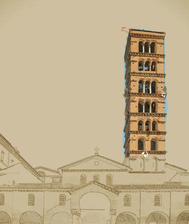 belfry: The church of Santa Maria in Cosmedin in Rome, Italy. The church is known to contain the famous sculpture La Bocca della Verita.  Painting with watercolor and pencil.  Vector format. Illustration