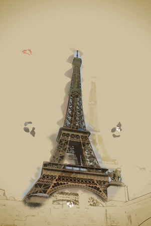 above clouds: Eiffel tower at dusk, above clouds. viewd from Seine. Travel background illustration. Painting with watercolor and pencil. Brushed artwork. Vector format.