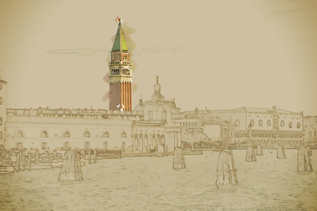 marco: Travel background in vector format. Modern stylish painting with watercolor and pencil. Piazza di San Marco view on Piazza di San Marco from a boat. Many moorings are visible on the water. Illustration