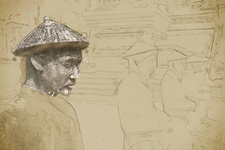 Travel background in vector format. Modern stylish painting with watercolor and pencil. Tomb of Khai Dinh emperor in Hue, Vietnam.  Illustration