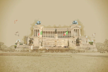 venezia: piazza Venezia in Rome with the monumental memorial for king Vittorio Emanuele II. Travel background illustration. Painting with watercolor and pencil. Brushed artwork. Vector format. Illustration