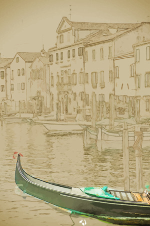 venice gondola: Travel background in vector format. Modern stylish painting with watercolor and pencil. Beautiful colorful image of a canal in Venice with moorings and a gondola in the forefront.