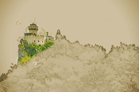 Travel background in vector format. Modern stylish painting with watercolor and pencil. Beautiful view of the medieval fortress De La Fratta or Cesta overlooking the green hills of San Marino republic.