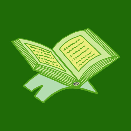 kuran: Colorful drawings of koran book with text. Hand drawn images of islamic worship book for holiday design. Doodles of different qurans