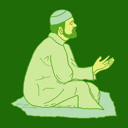 namaz: vector illustration of muslim offering namaaz. colorful hand drawn element for holiday design. doodle of a praying man.