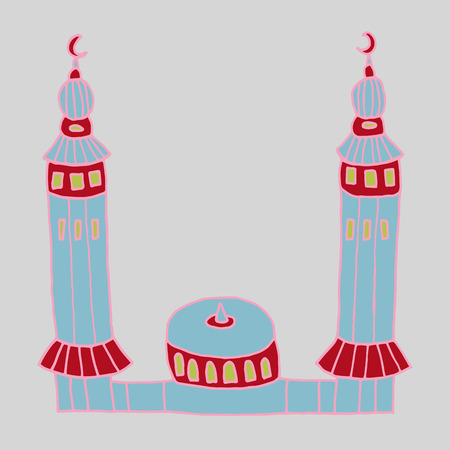 iftar: Colorful drawings of mosques. Hand drawn images of islamic worship places for holiday design. Doodles of different mosques. Illustration