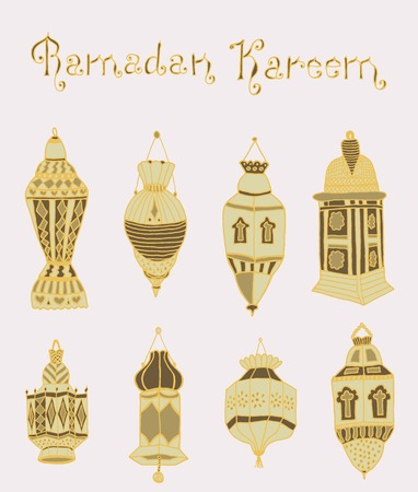 iftar: Colorful drawings of lantrn. Hand drawn images of islamic festival artifacts for holiday design. Doodles of different ornaments