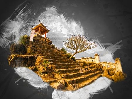 Pagoda on top of Hang Mua viewpoint, Ninh Binh, Vietnam