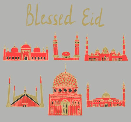 namaaz: set of Colorful drawings of mosques with text. Illustration