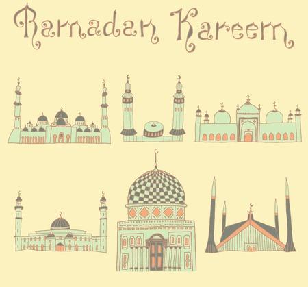 ramzan: conjunto de dibujos de colores de las mezquitas con el texto. Vectores