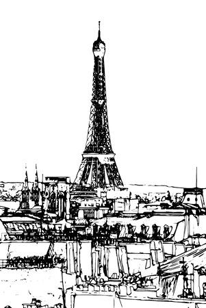 gran angular: Viajes de fondo en formato vectorial. Pintura con estilo moderno con acuarela y l�piz. Torre Eiffel al atardecer, las nubes por encima. viewd de seine Vectores