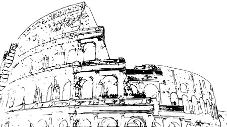 amphitheater: Travel background in vector format. Modern stylish painting with watercolor and pencil. Colosseum (Coliseum) in Rome, Italy. The Colosseum is an important monument of antiquity.