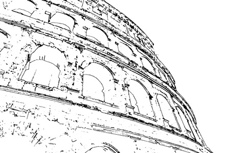 colosseo: Travel background in vector format. Modern stylish painting with watercolor and pencil. Colosseum (Coliseum) in Rome, Italy. The Colosseum is an important monument of antiquity.