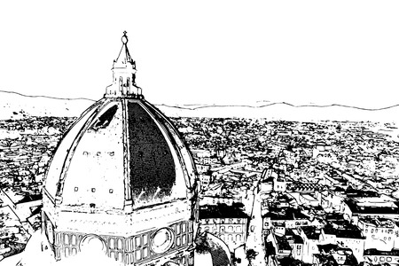 Travel background in vector format. Modern stylish painting with watercolor and pencil. The Basilica di Santa Maria del Fiore (Basilica of Saint Mary of the Flower) in Florence, Italy Illustration
