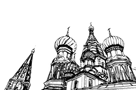 ditch: Travel background in vector format. Modern stylish painting with watercolor and pencil. St. Basil (Cathedral of the Protection of the Virgin on the Ditch) Moscow