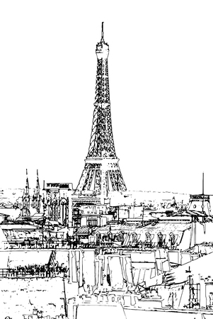 seine: Travel background in vector format. Modern stylish painting with watercolor and pencil. Eiffel tower at dusk, above clouds. viewd from seine
