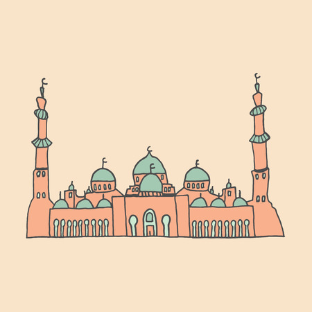 places of worship: Colorful drawings of mosques. Hand drawn images of islamic worship places for holiday design. Doodles of different mosques. Illustration