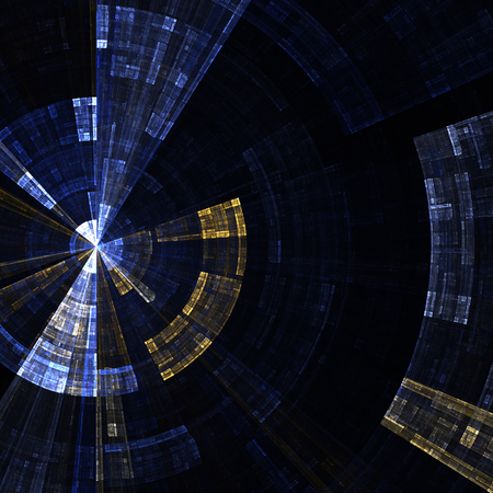 abstract swirl: Composition of abstract radial grid and lights as a concept metaphor for technology, science and entertainment Stock Photo