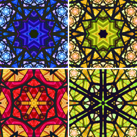 generate: Set of stained glass patterns. Four seamless symmetrical background templates.  Multicolored vivid design element. Bright and beautiful kaleidoscopic texture for design uses