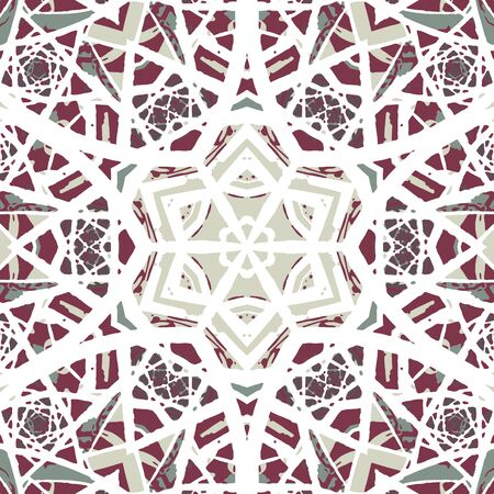 flavour: Multicolored kaleidoscopic tile element colored with stylish palette. Symmetrical seamless pattern with vintage flavour.