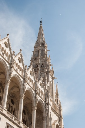obuda: Hungarian Parliament in Budapest. Neogothic building, architectural details.