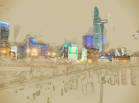 ho: Modern stylish painting with watercolor and pencil. Cityscape of Ho Chi Minh at night with bright illumination of modern architecture. Illustration