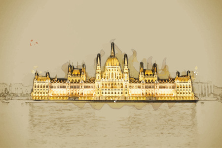 magyar: Travel background in vector format. Modern stylish painting with watercolor and pencil. The Hungarian Parliament Building with bright and beautiful illumination at night.