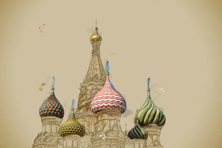 Modern stylish painting with watercolor and pencil. St. Basil (Cathedral of the Protection of the Virgin on the Ditch) Moscow Ilustrace