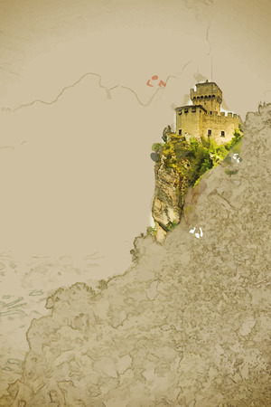 overlooking: Modern stylish painting with watercolor and pencil. Beautiful view of the medieval fortress De La Fratta or Cesta overlooking the green hills of San Marino republic. Illustration