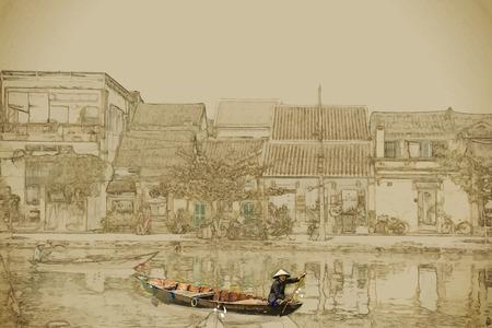 Reisachtergrond in vectorformaat. Modern stijlvol schilderij met waterverf en potlood. Traditionele boten in Hoi An. Vietnam. Stock Illustratie