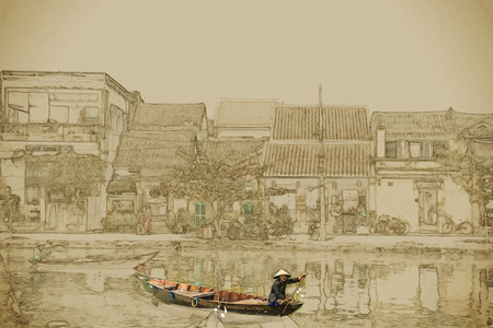 Travel background in vector format. Modern stylish painting with watercolor and pencil. Traditional boats in Hoi An. Vietnam.