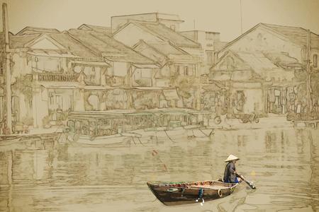 Reizen achtergrond in vector-formaat. Moderne stijlvolle schilderen met waterverf en potlood. Traditionele boten in Hoi An. Vietnam. Stock Illustratie