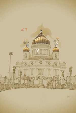 Travel background in vector format. Modern stylish painting with watercolor and pencil. Cathedral of Christ the Saviour in MOSCOW, Russia. Illustration
