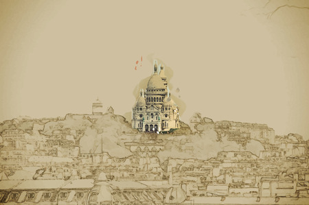 coeur: Travel background in vector format. Modern stylish painting with watercolor and pencil. Sacre Coer in cityscape of Paris
