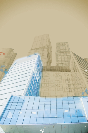 pellucid: Abstract background in vector format. Modern stylish painting with watercolor and pencil. digitally transformed photo of modern office building. Business background.