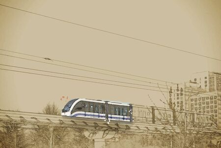 modern train: Travel background in vector format. Modern stylish painting with watercolor and pencil. Elevated rapid transit system with the modern train running on rails against tower blocks in Moscow, Russia Illustration