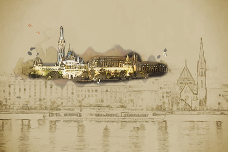 magyar: Travel background in vector format. Modern stylish painting with watercolor and pencil. Matthias church and the Fishermans Bastion at night in Budapest Hungary Illustration