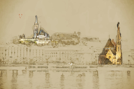 Travel background in vector format. Modern stylish painting with watercolor and pencil. Matthias church and the Fishermans Bastion at night in Budapest Hungary Illustration