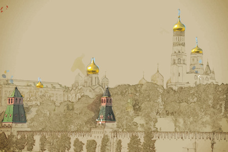 Travel background in vector format. Modern stylish painting with watercolor and pencil. Kremlin battlement in Moscow, Russia Ilustrace