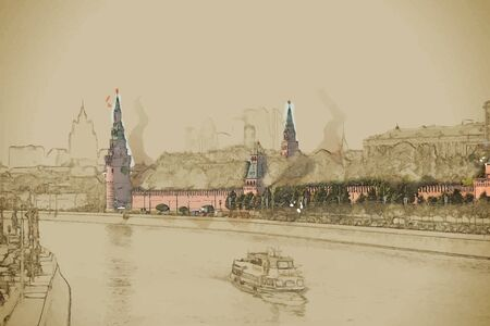 forefront: Travel background in vector format. Modern stylish painting with watercolor and pencil. Kremlin battlement with a boat in the forefront in Moscow, Russia Illustration