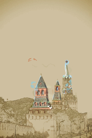 kremlin: Travel background in vector format. Modern stylish painting with watercolor and pencil. Kremlin battlement in the Moscow city, Russia Illustration
