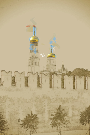 kremlin: Travel background in vector format. Modern stylish painting with watercolor and pencil. Kremlin battlement in Moscow, Russia Illustration