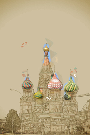 red square moscow: Travel background in vector format. Modern stylish painting with watercolor and pencil. St. Basil (Cathedral of the Protection of the Virgin on the Ditch) Moscow