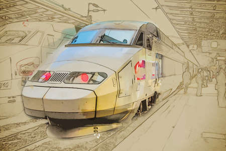 station: Travel background in vector format. Modern stylish painting with watercolor and pencil. Trains on Northern train station, Gare du Nord, Paris, France. Illustration