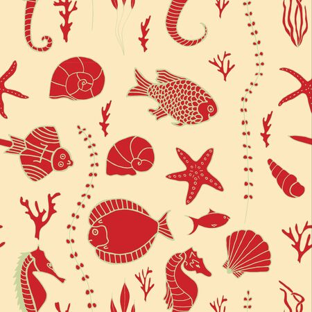 oceanside: Seamless pattern with hand drawn fishes, corrals, shells, seaweeds and sea-horses. Perfect background texture for menus, booklets or web designs.