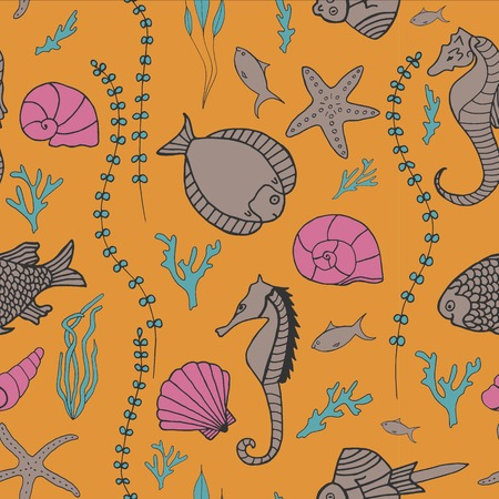 seaweeds: Seamless pattern with hand drawn fishes, corrals, shells, seaweeds and sea-horses. Perfect background texture for menus, booklets or web designs.